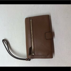 Coach Phone Leather Clutch in Saddle
